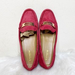 Coach Olympia Red Leather Slip On Loafers